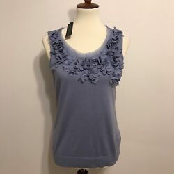 NWT Talbots Blue Periwinkle 3-D Flower Cut Out Sleeveless Blouse Size Medium $79