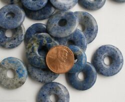 Semiprecious Stone Lapis Donut Beads 10pc Approx 20mm to 27mm