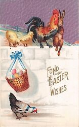 Rooster by Bunny amp; Chicks on Wall Above Chicken amp; Basket of Eggs Old Easter PC $3.50