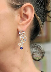 TIFFANY & CO 950 PLATINUM 1.68ct TANZANITE & .56ctw DIAMOND EARRINGS 1.74