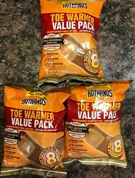 Lot Of 3 Hothands Toe Warmer Value Pack 7 Pair 8 Hrs Heat Per Pair 21 Total Pair $10.00