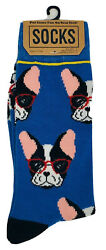 New Bioworld Mens FRENCH BULLDOG Novelty Socks Wearing Glasses Size 6 12 $5.99