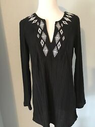Catalina Black Embroidered Cover Up Size Small $8.00