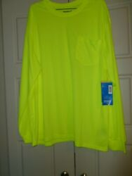 Diehard Mens High Visibility Long Sleeve Basic pocket Tee quot;Safety Yellowquot; F S $19.00