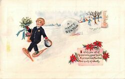 Postman or Delivery Boy Wearing Snowshoes With Mistletoe amp; Roses Old New Year PC $2.50