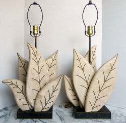 PAIR lamps ROBERT MARCIUS 4 Casa Bique TESSELLATED STONEBRASS Hollywood Regency $748.50