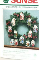 Sunset by Dimensions Cross Stitch 1990 Old Fashioned Santa ornaments Vintage Kit $24.00