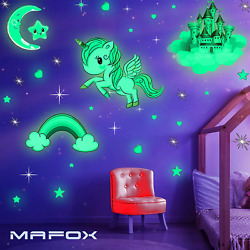 Glow in The Dark Stars Glowing Unicorn Sets with Castle Moon and Rainbow Wall $19.96