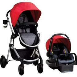 Evenflo Pivot Baby Stroller and Safemax Infant Car Seat Travel System Red $279.99