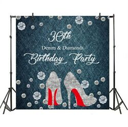 8x8ft 30th Birthday Party Banner Diamond Photography Prop Backgrounds Backdrop $16.91