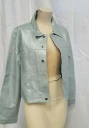 NOS 90s WOMENS LEATHER JACKET METALLIC SILVER BLUE JEAN STYLE LRG $39.95