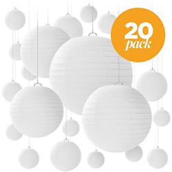 20 White Round Paper Lanterns for Weddings Birthdays Parties and Events of 5 $24.42