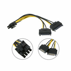 Dual SATA to PCI E Power Cable 15Pin SATA to 8 pin 6 pin Video Card Power Wire $7.99