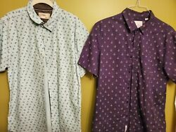 Mens Designer Shirts Lot 2 Nautical Anchor Theme Craft Flow Free Planet L Size