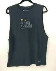 Under Armour Women's Large She is the Future Top Muscle Workout Shirt Black NWT