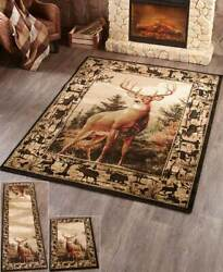 Lodge Accent Runner Area Rug Log Cabin Buck Deer Rustic Living Room Home Decor $45.10