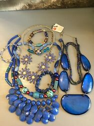 BOHO ECLECTIC HIPPIE GYPSY HANDMADE SHADES OF BLUE VINTAGE NOW JEWELRY LOT WOW $37.59