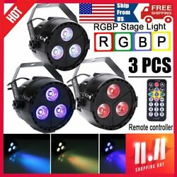 3PCS 3 LED RGBP Par Stage Light 18W DMX Remote Home Lamp Party DJ Club For UKing $51.75