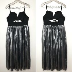 Free People Silver Party Dress Strappy Cut Out Maxi Large $198 $89.00