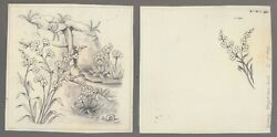 EASTER Pencil Waterfall & Flowers 2pcs 5.25x5.25