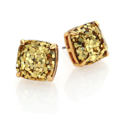 Kate Spade Small Square Stud Gold Glitter Earrings w Gift Box $14.24