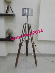 Nautical Floor Shade Lamp Natural Tripod Stand with Shade Home Decor Lamp $240.00