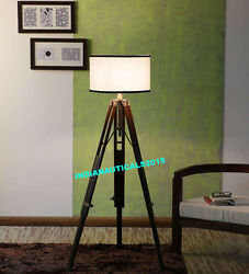 Industrial Nautical Floor Shade Lamp Brown Wooden Tripod Stand Home Decor Gift $85.00