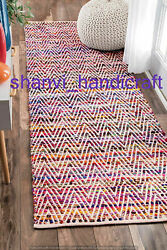 Rectangle Braided Cotton Rug Multi Color Carpet Bohemian 2x3 Feet Decorative Rug $41.99