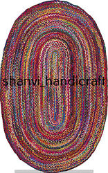 Braided Cotton Oval Rug Multi Color Carpet Bohemian 2x3 Feet Decorative Rug Mats $41.99