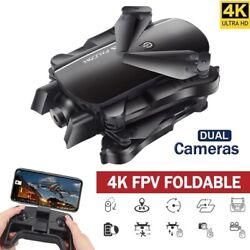FPV RC Foldable Pocket Drone Toys Quadcopter with 4K HD Dual Camera Follow Me $64.14