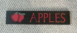 Apples Wood Sign 22quot; x 5quot;   Rustic Country Decor $17.00