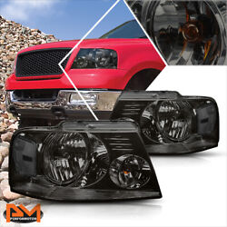 For 04 08 Ford F150 Pickup Smoked Housing Headlight Clear Side Corner Lamps Pair $77.89