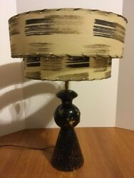 1950s Vintage Table Lamp w Tiered Fiberglass Shade Black Gold Stars Mid Century $250.00