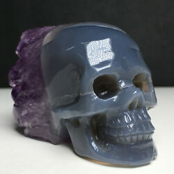Rare 179g Natural Agate Purple Crystal Cluster Hand Carved Skull Healing $89.00