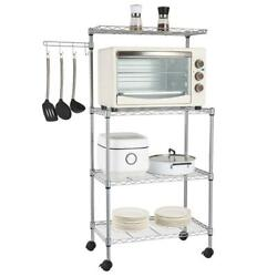 4 Tier Kitchen Rack Microwave Oven Stand Storage Rolling Cart Shelf $49.99