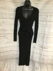Forever 21 Contemporary Black Maxi Dress Long Sleeve Belted Size S $24.99