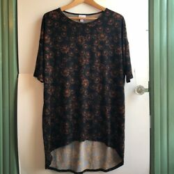 LULAROE Irma Black Orange Floral Firework High Low Short Sleeve Tunic Top Small $5.25