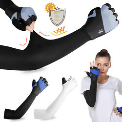 Cooling Sun Protection Arm Sleeves Cover Gloves Cycling Golf Sport For Men Women $7.99