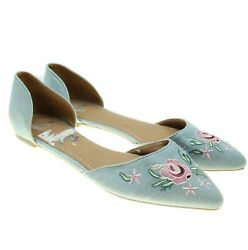 Report Womens Sz 7.5 Wide Blue Floral Embroidered Denim D'Orsay Flats $17.49