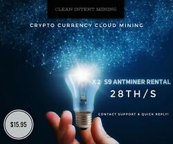 24 HOUR CLOUD MINING CONTRACT Antminer Rental S9 13.5TH SHA-256 BITCOIN Hash $15.95