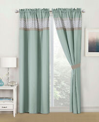 Embroidery Indoor Curtains for BedroomWith Rod Pocket amp; Tie Back 58quot;x84quot; Mint $44.99