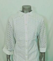 CHICO#x27;S EYELET MIX SHIRT Color: White New With Tags $19.99