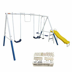 XDP Recreation Blue Ridge Outdoor Backyard Kids Swing Set w Slide Anchor Kit $212.99