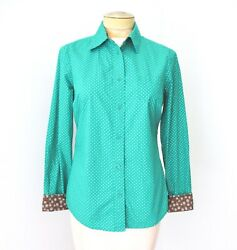 Boden Green Blue Polka Dot 100% Cotton Blouse Office Top Turned Cuffs US 6 $14.99