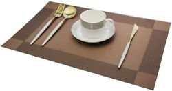 Set of 6 Brown PVC Non Slip Dining Table Washable Place Mats  12x18 Inches $13.49