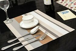 Set of 6 Gray Line PVC Non Slip Dining Table Washable Place Mats  12x18 Inches $13.29