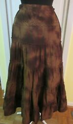 TRIBAL SKIRT LONG TIERED BROWN SIZE 4 $24.99