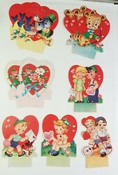 Lot of 12 Antique Cards Valentines Boy Girl Teddy Bear Birds Rose Hearts Bicycle $18.00