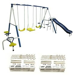 XDP Recreation Playground Play Swing Set with Slide & Ground Anchor Kit (2 Pack)