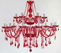 Red Crystal Bedroom Lighting Chandelier Living Room Pendant Light Ceiling Lamp T $189.75
